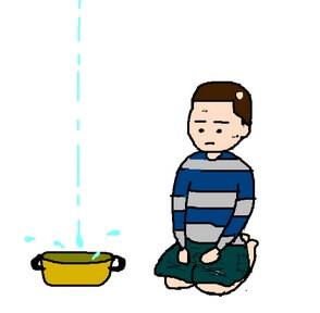 雨漏りを鍋で受けるイラスト