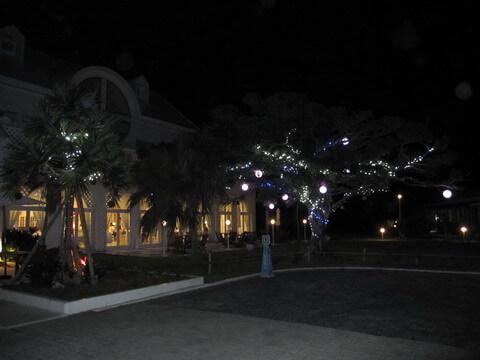 プリシアリゾート 夜の本館前のイルミネーション