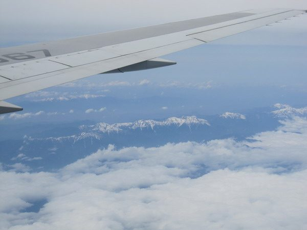 機内から見える北アルプス