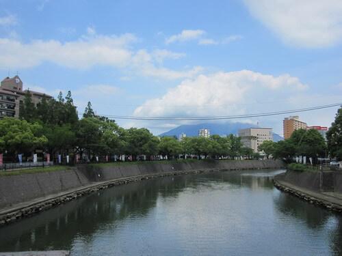 甲突川から眺める桜島