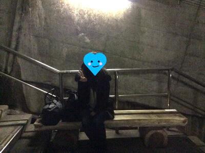 土合駅 階段途中にある椅子